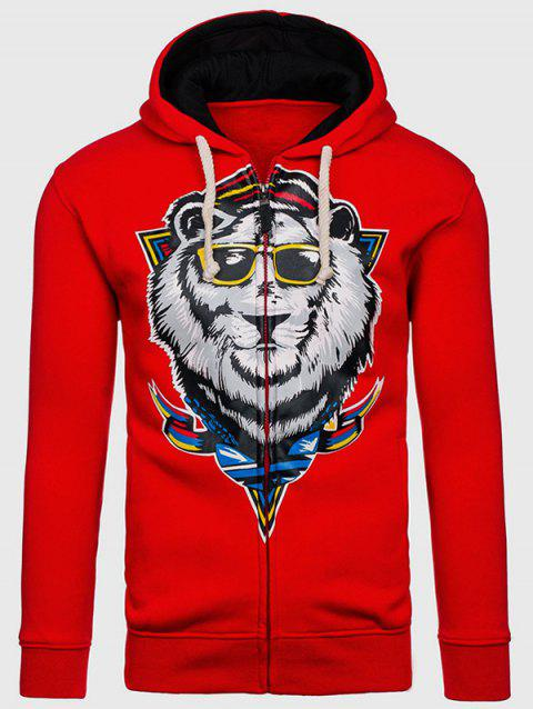 Drawstring Lion Cartoon Imprimer flocage Hoodie - Rouge 2XL