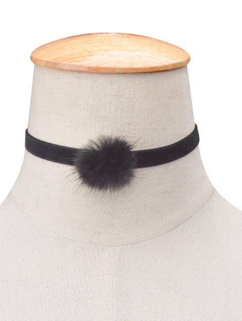 Flannelette Ball Choker Necklace - BLACK