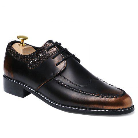 Faux Leather Embossed Panel Formal Shoes - BROWN 41