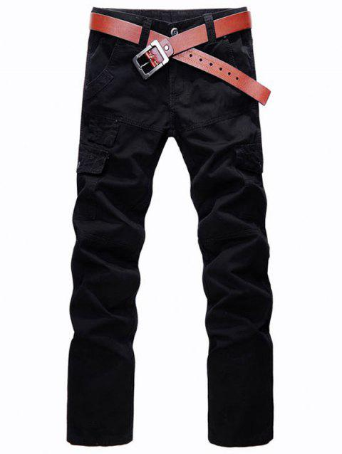 Zip Fly Straight Leg Multi Pockets Cargo Pants - BLACK 31