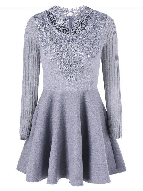 Lace Insert Knit Fit And Flare Dress - GRAY S
