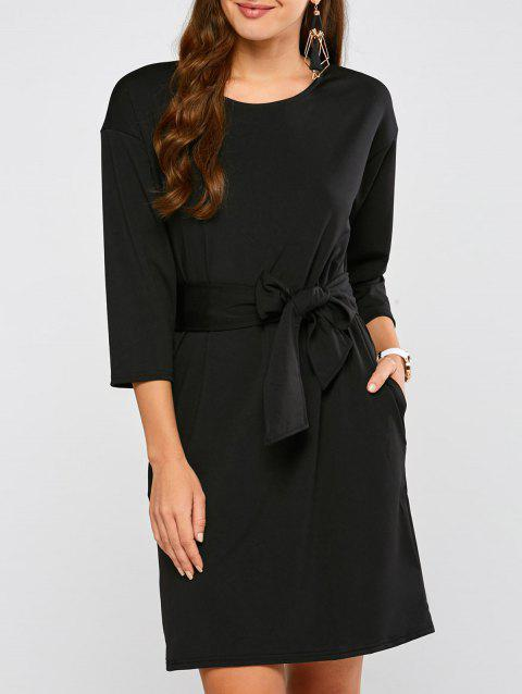 Drop Shoulder Belted Dress - BLACK S