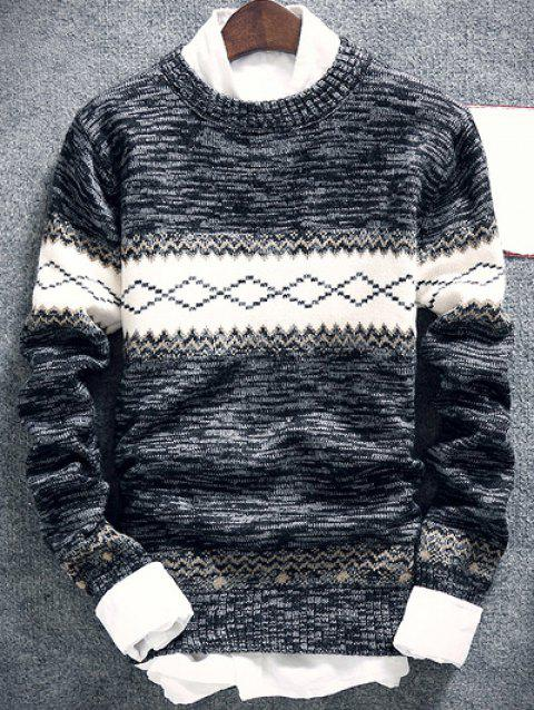 Space Dye Geometric Pattern Crew Neck Sweater - DEEP GRAY L