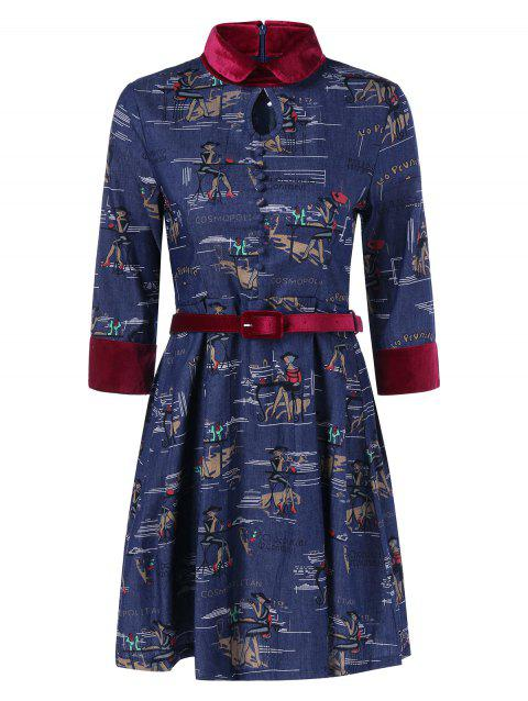 Funny Patterned Vintage Denim Dress - DENIM BLUE M
