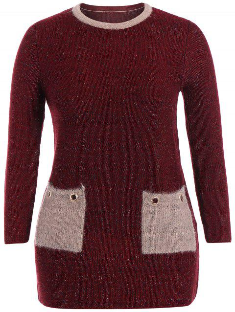 Pull-robe grande taille poches col rond - Rouge vineux ONE SIZE