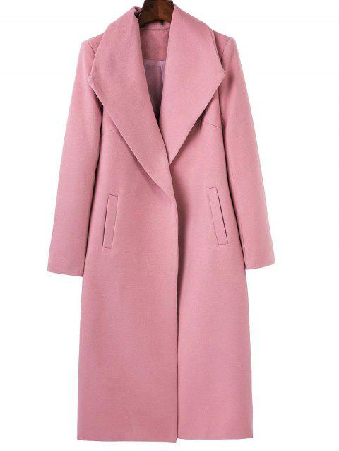Long Wool Maxi Coat with Lapel - PINK S