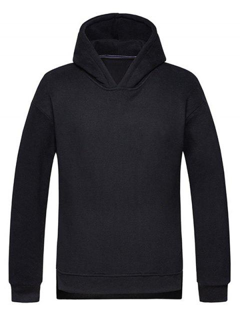 High Low Hem Side Split Pullover Hoodie - BLACK M