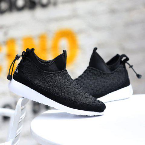 Slip On Suede Spliced Weaving Athletic Shoes - BLACK 40