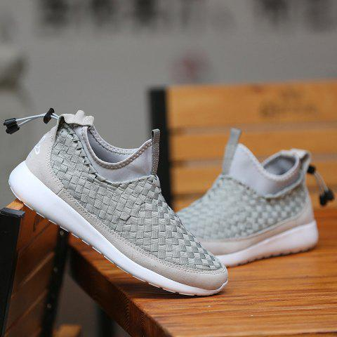 Slip On Suede Spliced Weaving Athletic Shoes - GRAY 43