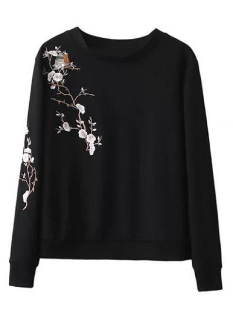 Crew Neck Bird Floral Embroidered Sweatshirt - BLACK S