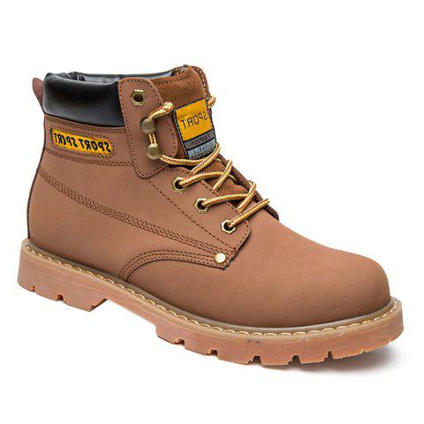 Eyelet Lace Up Stitching Work Boots - LIGHT BROWN 40