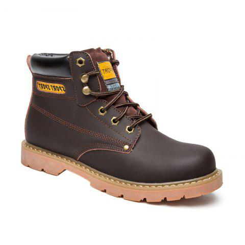 Eyelet Lace Up Stitching Work Boots - DEEP BROWN 42
