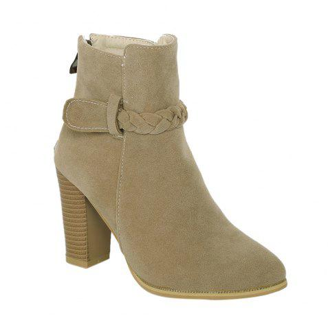 Chunky Heel Zipper Weave Ankle Boots - CAMEL 40
