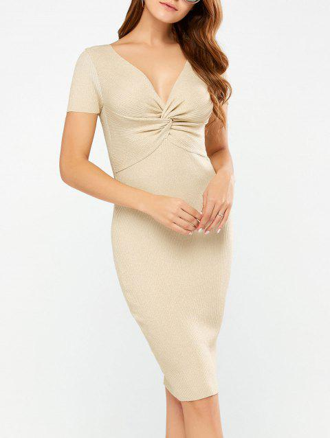 Bodycon Knee Length Knit Dress - APRICOT ONE SIZE