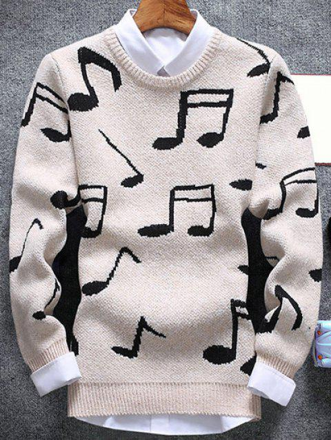 Crew Neck Music Note Pattern Sweater - OFF WHITE L