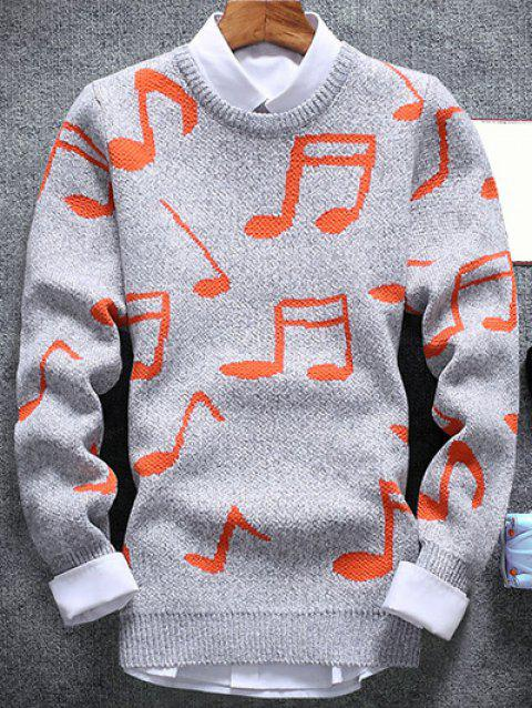 Crew Neck Music Note Pattern Sweater - LIGHT GRAY M