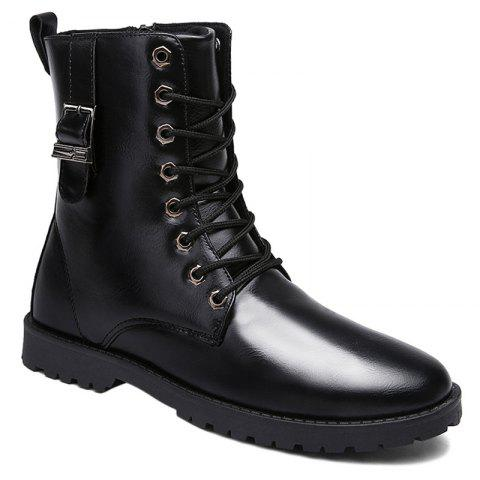 PU Leather Eyelet Buckle Strap Combat Boots - BLACK 41