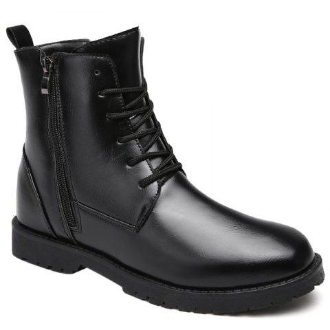 Casual Lace Up PU Leather Combat Boots - BLACK 40