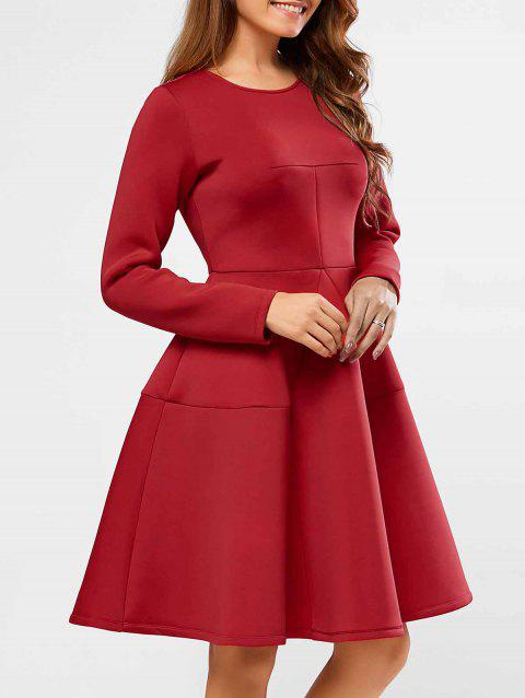 Patchwork Fit and Flare Dress - DEEP RED L