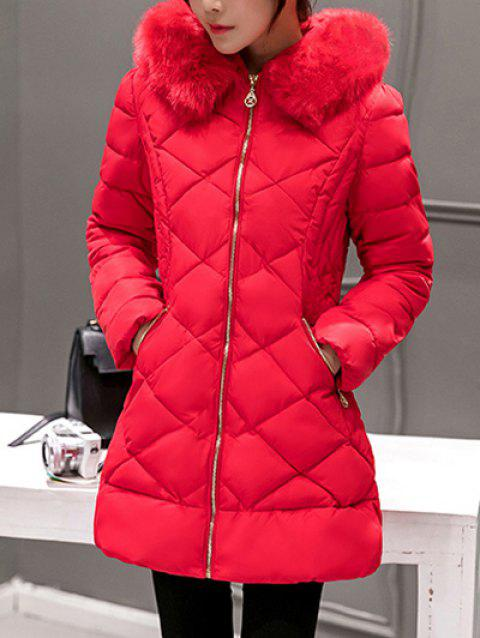 Long Hooded Puffer Coat With Fur Trim - RED XL
