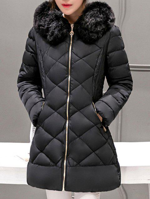 Long Hooded Puffer Coat With Fur Trim - BLACK 2XL