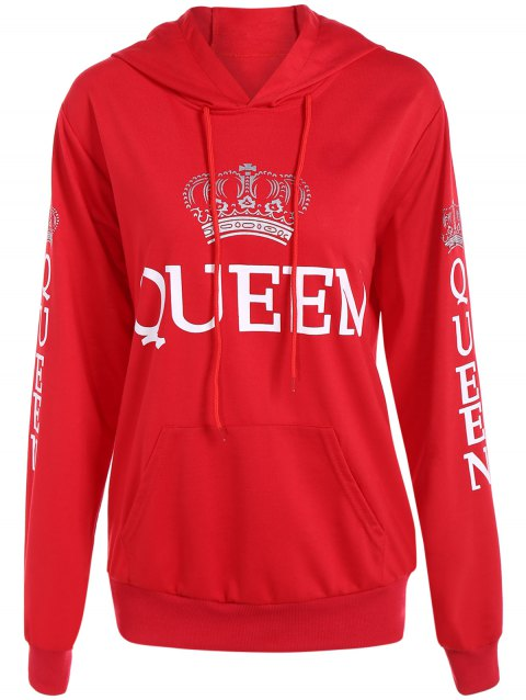 Pullover Queen Print Drawstring Hoodie - RED 2XL