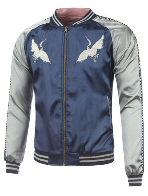 Bird Embroidery Rib Spliced Sukajan Jacket - DEEP BLUE 2XL