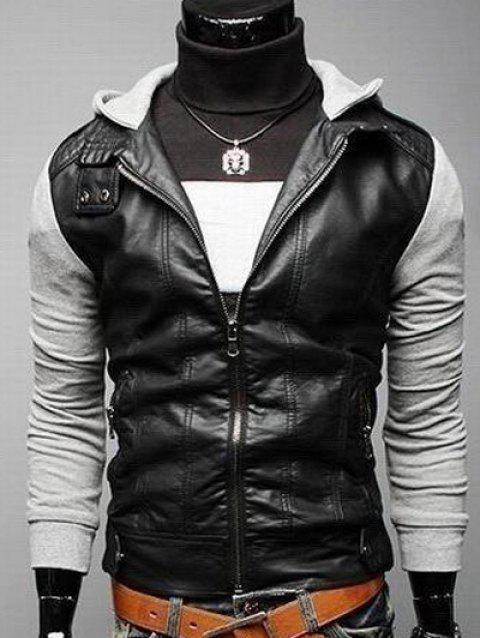 Faux Leather Insert Zip Pocket Hooded Jacket - GRAY M