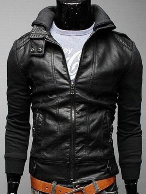 Faux Leather Insert Zip Pocket Hooded Jacket - BLACK XL
