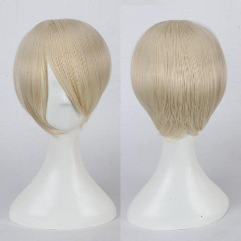 Multicolor Short Oblique Bang Straight Cosplay Synthetic Wig - BEIGE