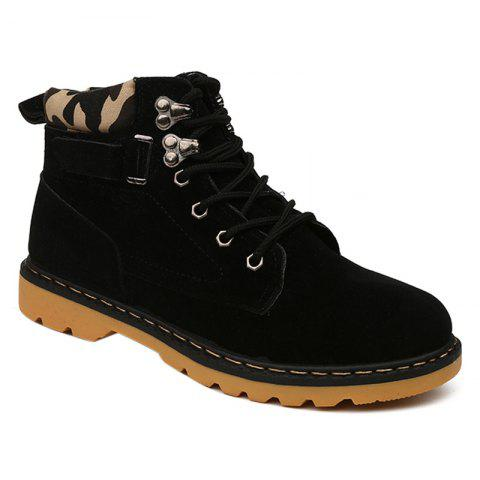Suede Metal Eyelet Lace Up Short Boots - BLACK 41