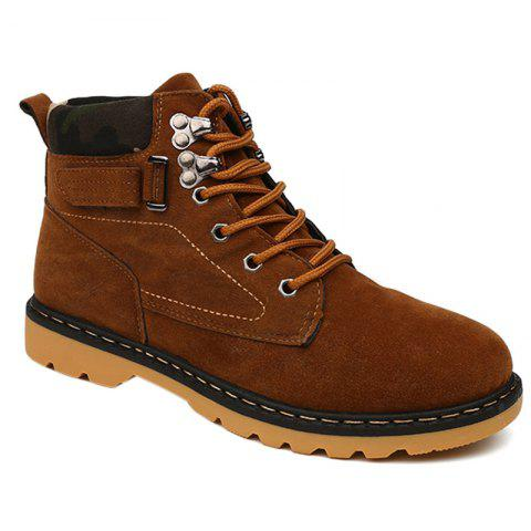 Suede Metal Eyelet Lace Up Short Boots - BROWN 41