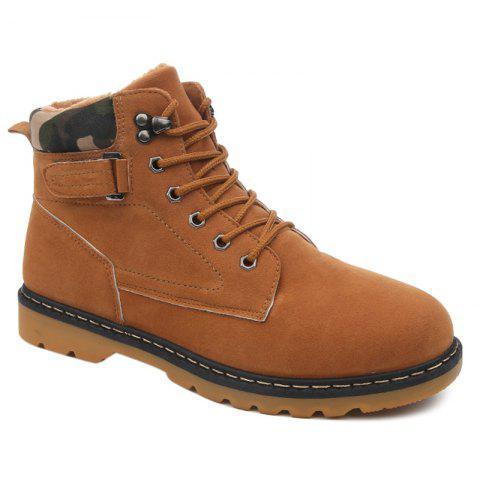Suede Eyelet Lace Up Short Boots - BROWN 41