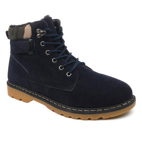 Suede Eyelet Lace Up Short Boots - BLUE 40