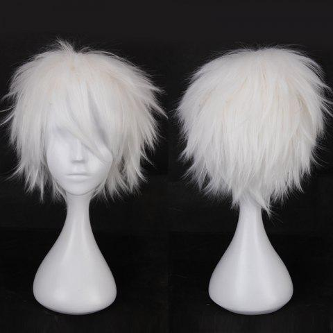 Multicolor Short Oblique Bang Fluffy Straight Cosplay Synthetic Wig - WHITE