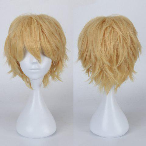 Multicolor Short Oblique Bang Fluffy Straight Cosplay Synthetic Wig - GOLDEN