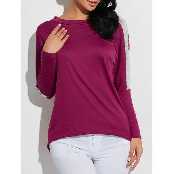 High-Low Sequined T-Shirt - PURPLE PURPLE