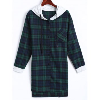 Plaid Button Up Paneled Hoodie