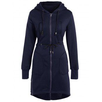 Long Drawstring High Low Zip Up Long Hoodie