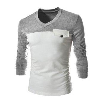 Slimming V-Neck Fashion Two Color Splicing Fake Pocket Long Sleeve Polyester Men's T-Shirt - LIGHT GRAY L