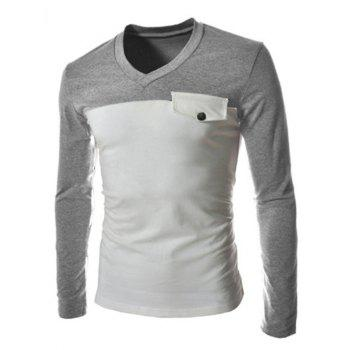 Slimming V-Neck Fashion Two Color Splicing Fake Pocket Long Sleeve Polyester Men's T-Shirt - L L