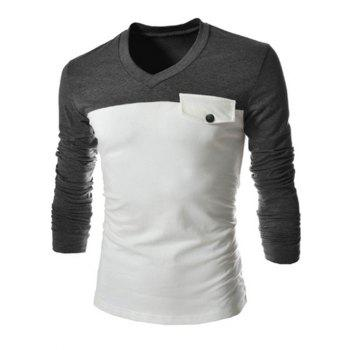 Slimming V-Neck Fashion Two Color Splicing Fake Pocket Long Sleeve Polyester Men's T-Shirt - GRAY M