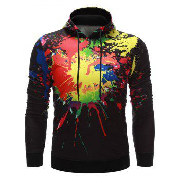 Paint Splatter Printing Kangaroo Pocket Hoodie - BLACK S