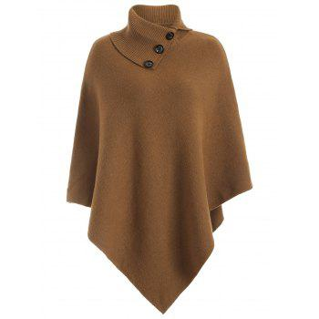 Knitted Convertible Neck Asymmetric Cape - CAMEL CAMEL