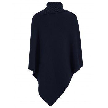 Knitted Convertible Neck Asymmetric Cape - PURPLISH BLUE ONE SIZE