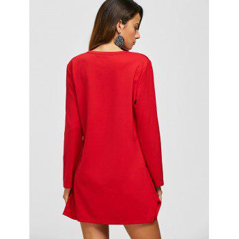 Flower Embroidery Long Sleeve Dress - RED 2XL