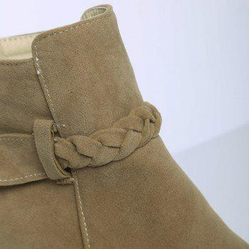 Chunky Heel Zipper Weave Ankle Boots - CAMEL CAMEL