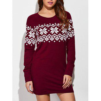 Raglan Sleeve Snowflake Dress