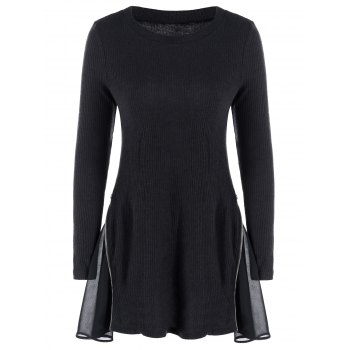 Side Zip Ribbed Knitted Tunic Dress