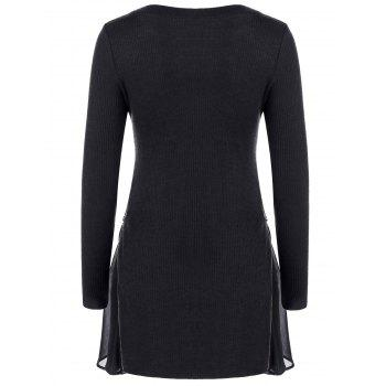 Side Zip Ribbed Long Sleeve Swing Dress - BLACK M